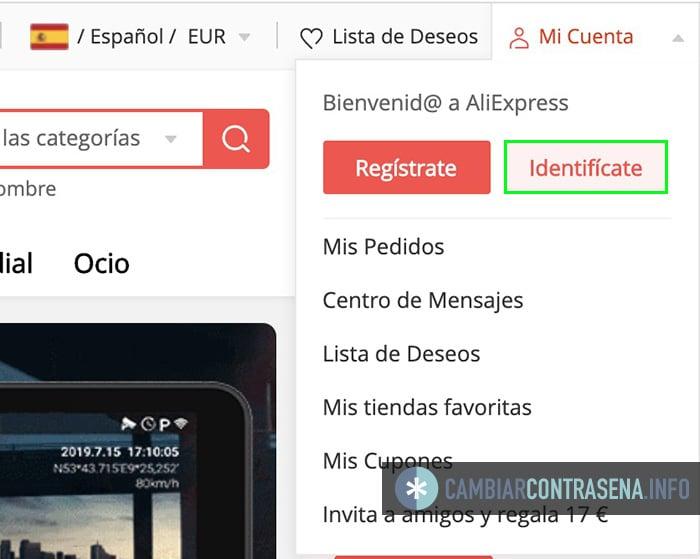 cambiar password aliexpress