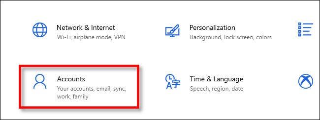 En Configuración de Windows, haga clic en Cuentas.