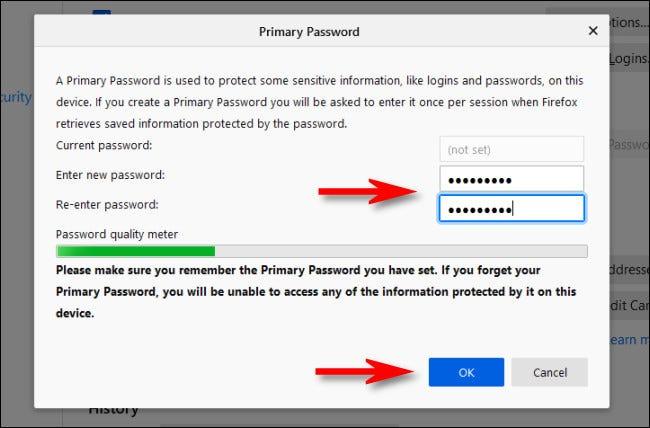 Ingrese una contraseña principal en la configuración de Firefox y haga clic en Aceptar.