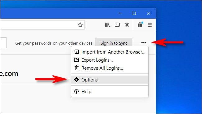 En Inicios de sesión y contraseñas de Firefox, haga clic en el botón de puntos suspensivos y seleccione Opciones.