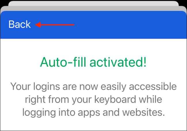 Después de la autenticación, toque el botón Atrás