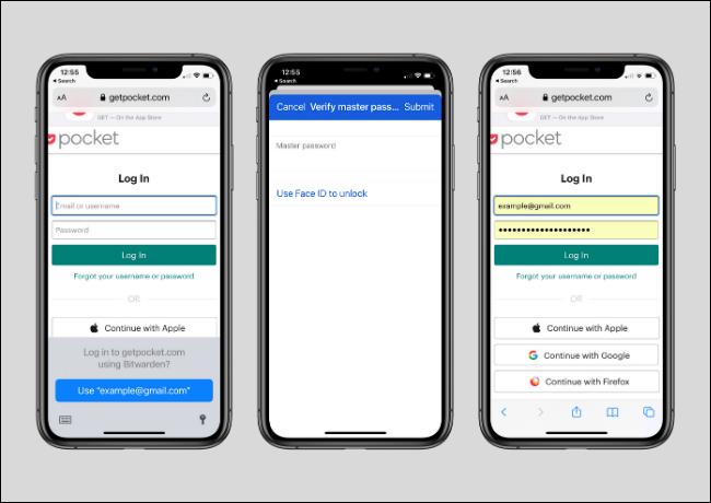 Uso de Bitwarden para iniciar sesión en el sitio web mediante la función Autocompletar en iPhone y iPad