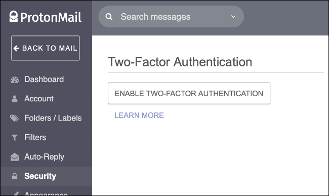 Habilite la autenticación de dos factores en ProtonMail