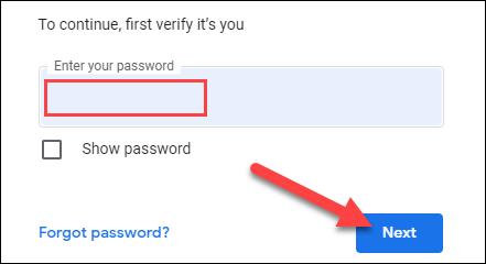 """Inicie sesión en su cuenta de Google y haga clic en """"Siguiente""""."""