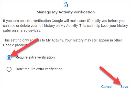"""Seleccione """"Se requiere verificación adicional"""" y haga clic en """"Guardar""""."""