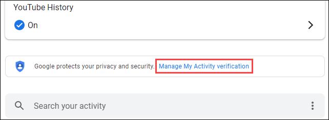 """Haga clic en """"Administrar la verificación de mi actividad""""."""