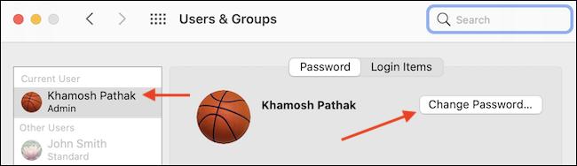 """Seleccione el perfil de usuario y haga clic en el botón """"Cambiar contraseña"""" para cambiar la contraseña."""