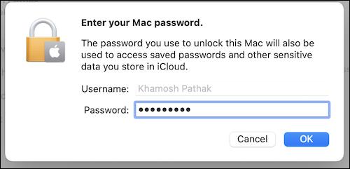 Ingrese su contraseña de Mac en la sección ID de Apple para continuar usando iCloud en su Mac.