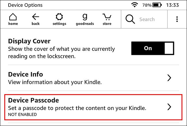 Seleccione la opción Código de acceso del dispositivo